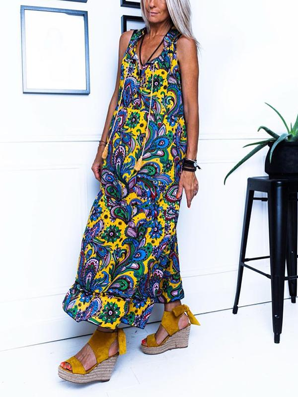 Bohemian V-Neck Sleeveless Printed Long Dress
