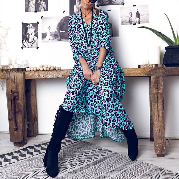 Casual V-Neck Lantern Long Sleeve Leopard Print Maxi Dress