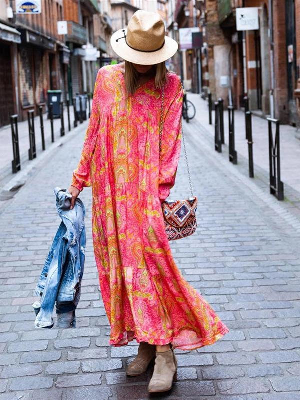 Casual V Neck Printed Dress