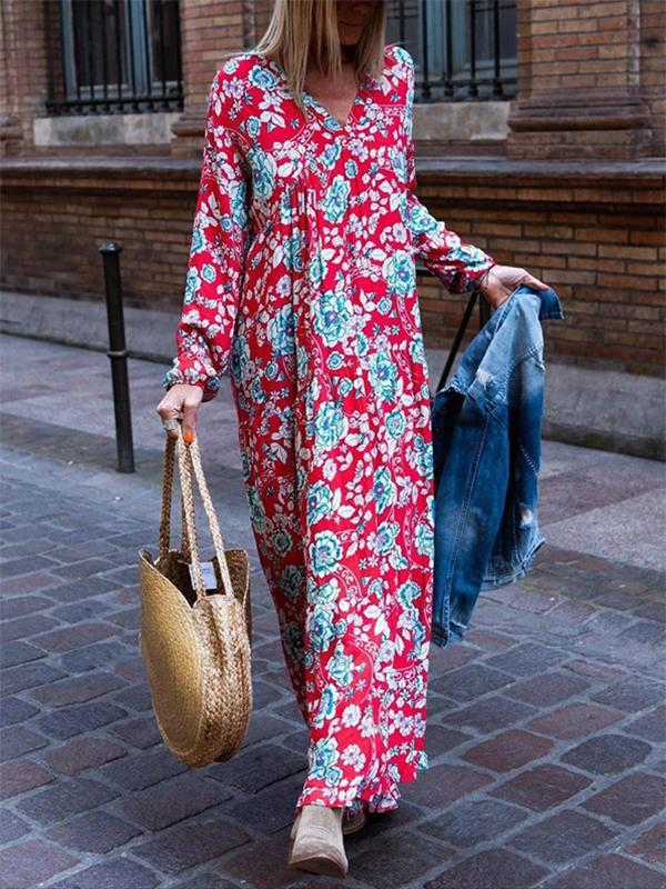 Casual V Neck Printed Long Sleeves Dress