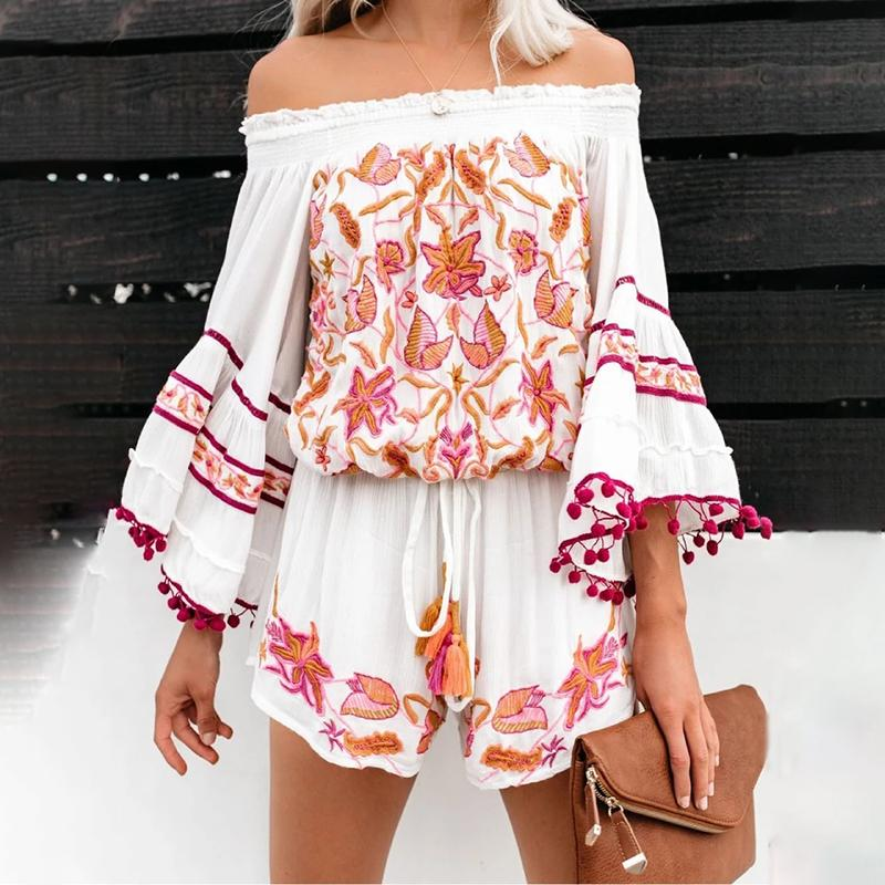 Casual Boat Neck Long Sleeve Printed Colour Romper