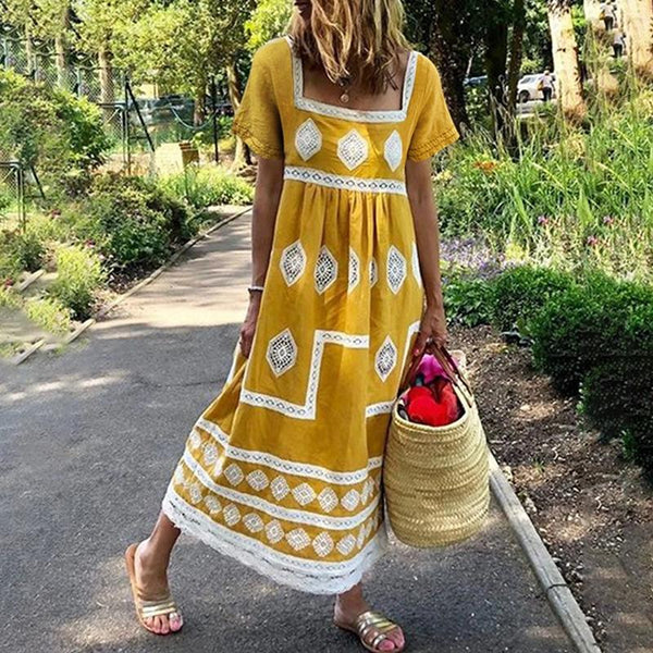 Casual Square-Cut Collar Short Sleeve Printed Colour Elastic Lace Maxi Dress