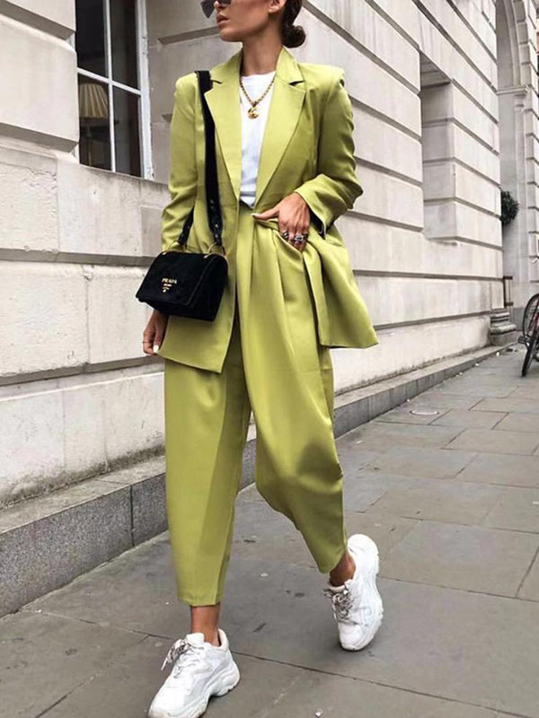 Fashion Folded Collar Solid Color Stitching Pocket Suit Pants Set