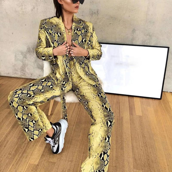 Europe And The United States Fold Collar Animal Pattern Print Stitching Suit Pants Suit