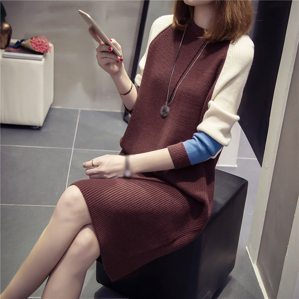 Temperament long sleeve colorblock skirt