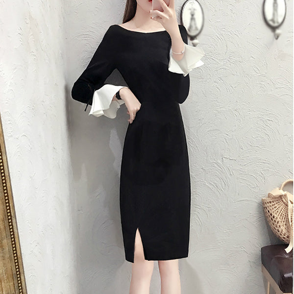 Fashion ladies flower sleeve round neck dress