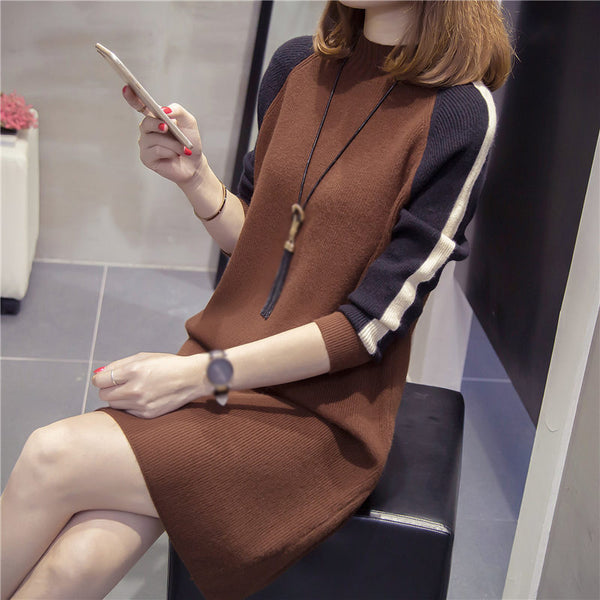 Fashion ladies long sleeve colorblock skirt