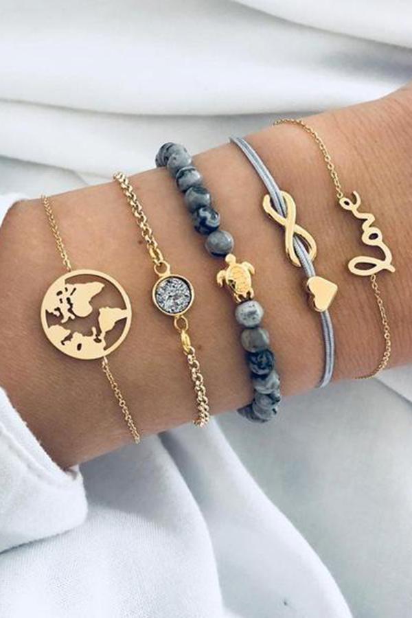 Fashion Personality  Turtle World  Map  Letters  Infinity-8 Words  Love Beads  Bracelet Set Female New
