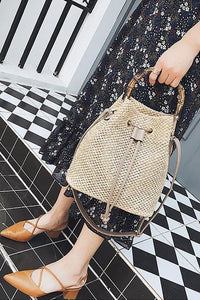 Pruning Bamboo Section Hand Bucket Braided Single Shoulder Oblique Span Bag