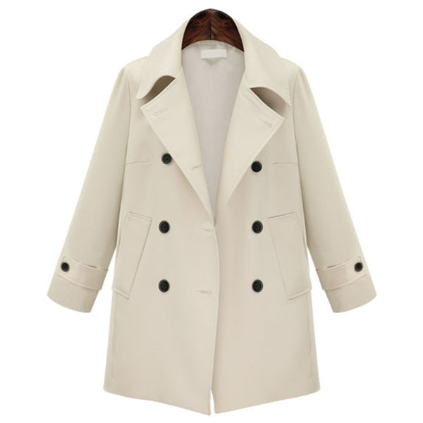 Medium long trench coat double-breasted woolen coat