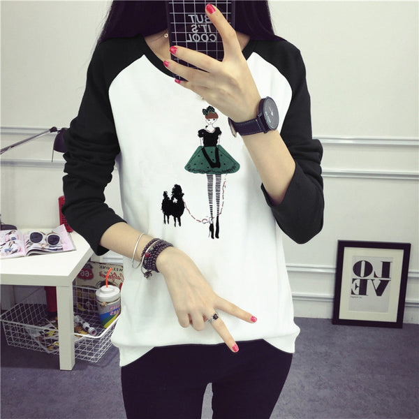 Casual Round Neck Printed Color Women's T-Shirt
