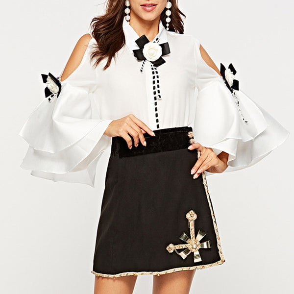 Fashion strapless big horn personality blouse