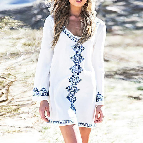 Embroidered long-sleeved dress