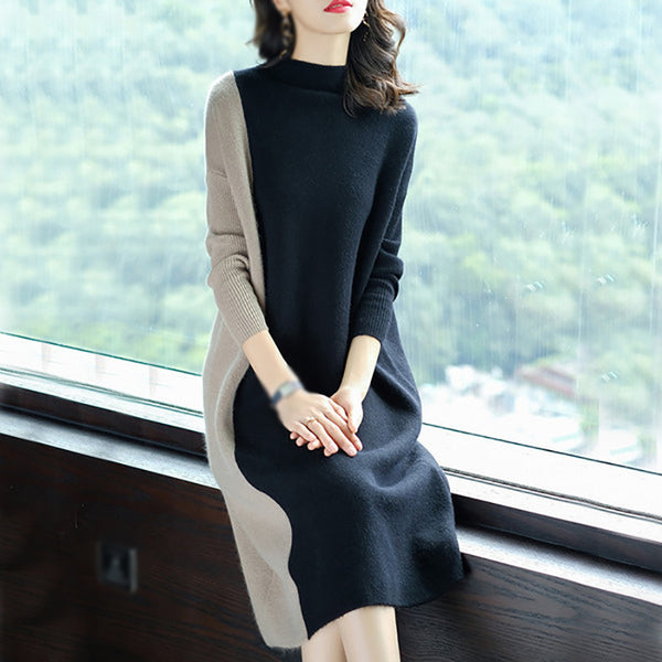 Loose stitching long sleeve dress