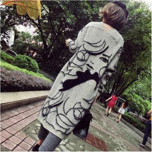 Fashion Batwing Sleeve Loose Printed Color Cardigan