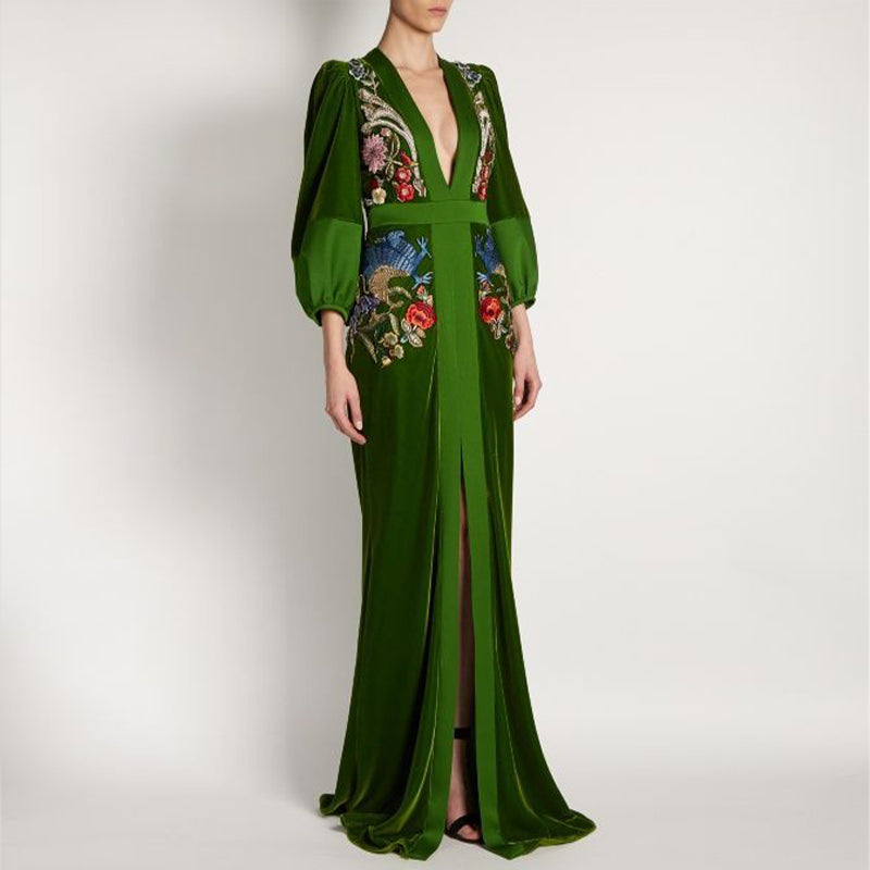 Elegant Deep V Emerald Green Embroidered Lantern Sleeve Evening Gown