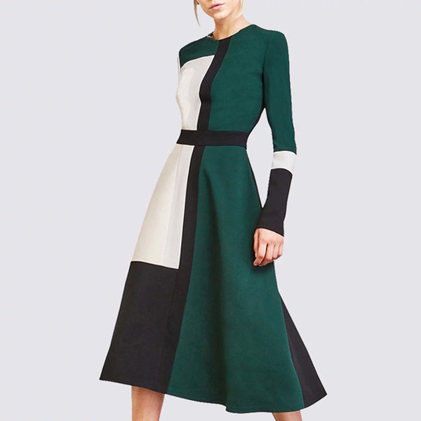 Elegant Color Block Long Sleeve Long Sleeve A-Line Midi Dress