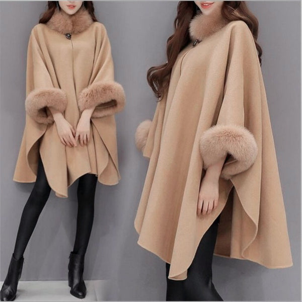 Vintage Pure Color Fur collar Women's Shawl