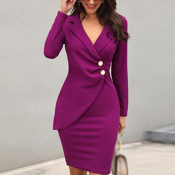 Slim ladies buttoned professional dress