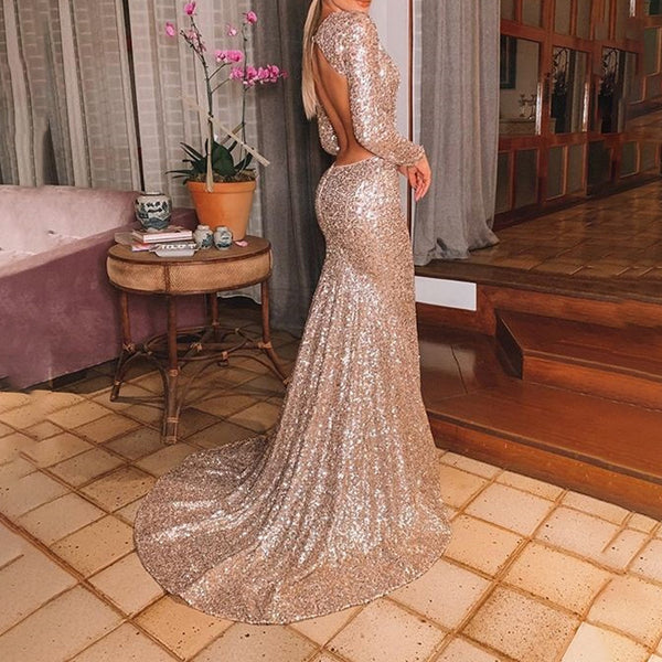 Sexy V-neck Sequined Bare Back Dress
