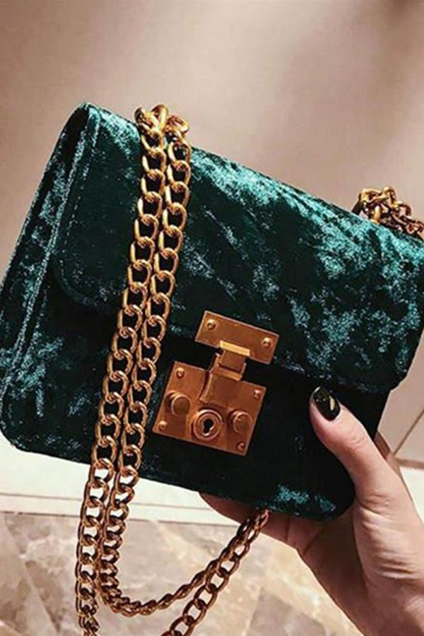 Elegant Chic Casual Suede Rectangle Chain One Shoulder Small Bag