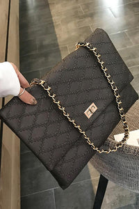 Fashion Business Formal Leather Rectangle Rhombus Chain One Shoulder Bag