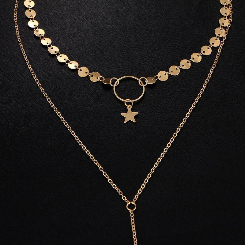 Sexy Street Snap Neck Chain Necklace Sequins   Stars