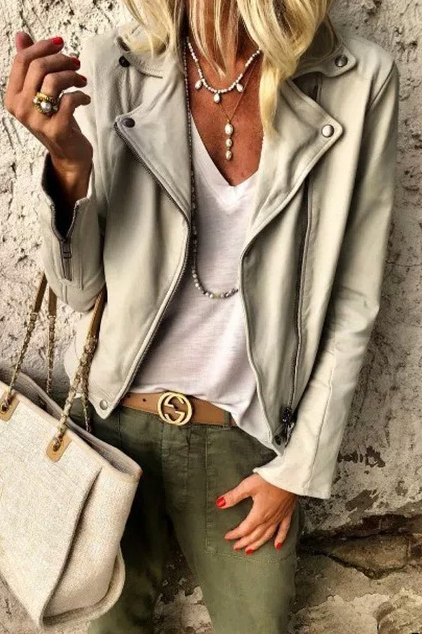 A Lapel Zips Casual Jackets
