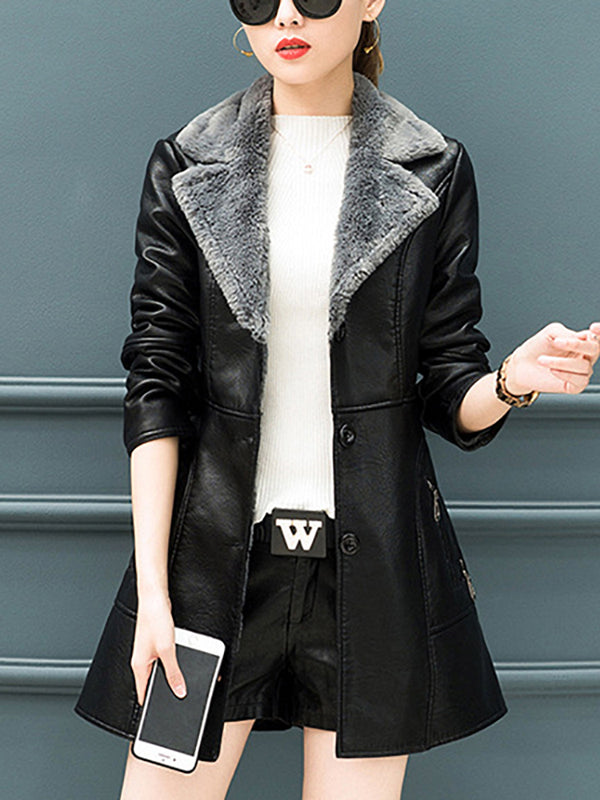 Women's Plus Velvet Padded Pu Leather One Coat