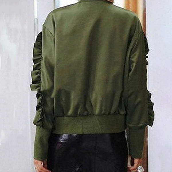 Fashion Military Green Zip Jacket