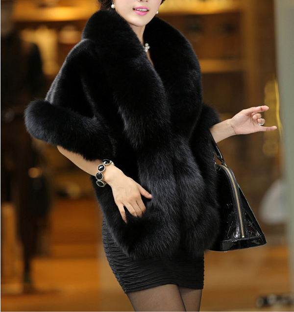 Elegant Pure Color Artificial fur Women's Shawl