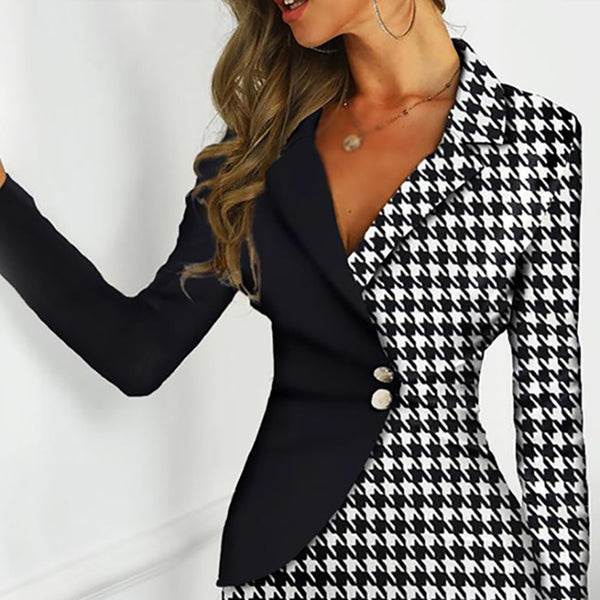 Personality houndstooth black stitching dress