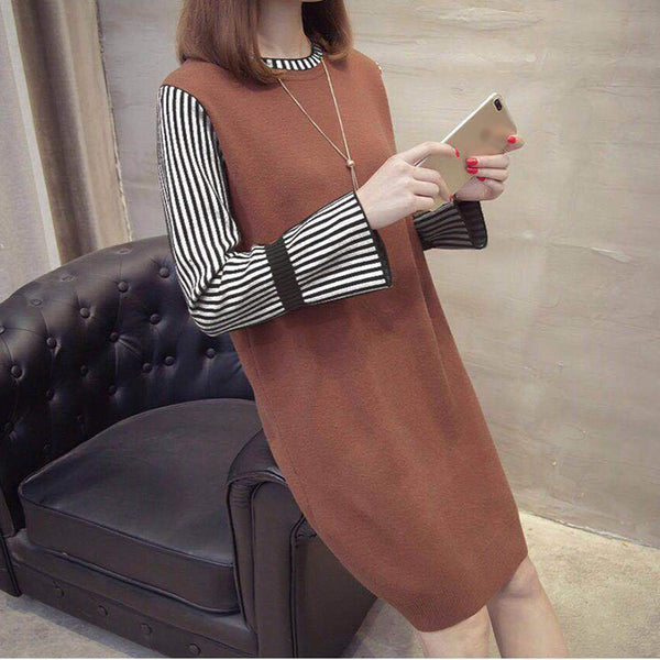 Fashion lady loose round neck dress