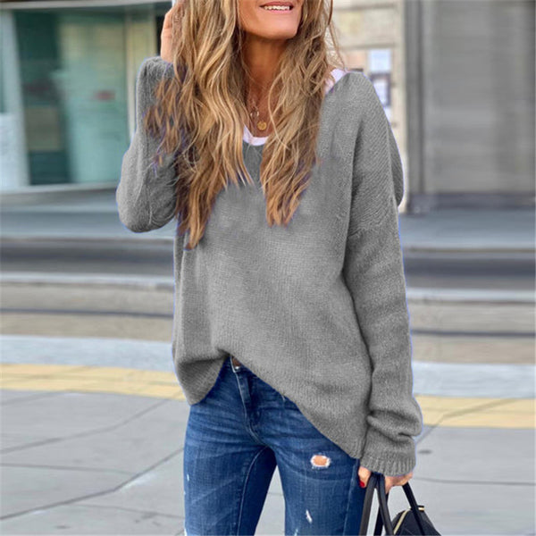 Fashion long sleeve V-neck solid color knit top