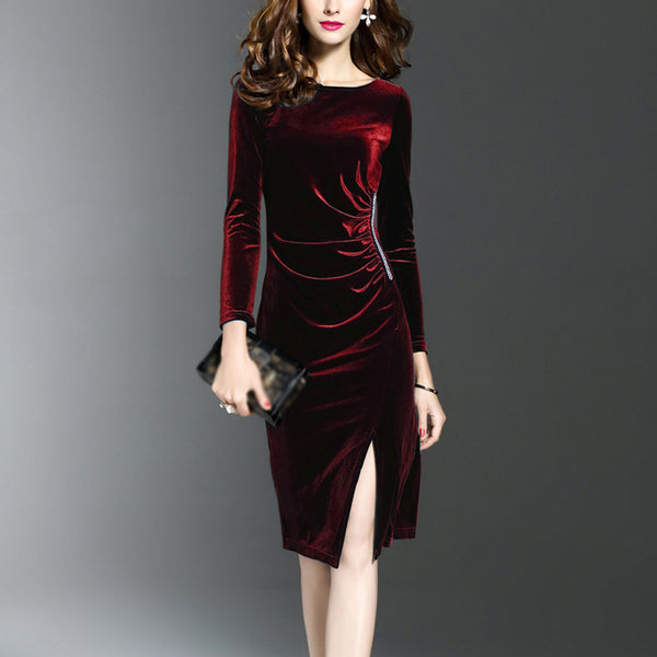 Women's long sleeve slim slimming midi dress