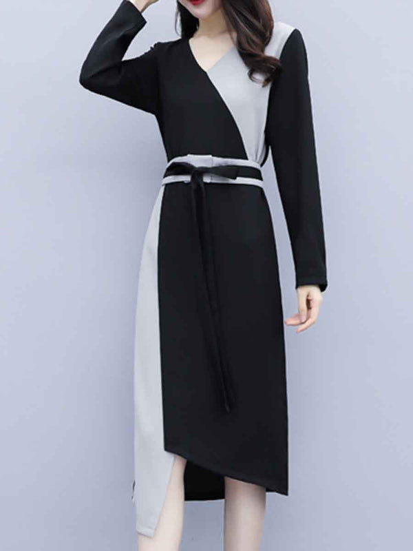 V-neck long sleeve stitching shift dress