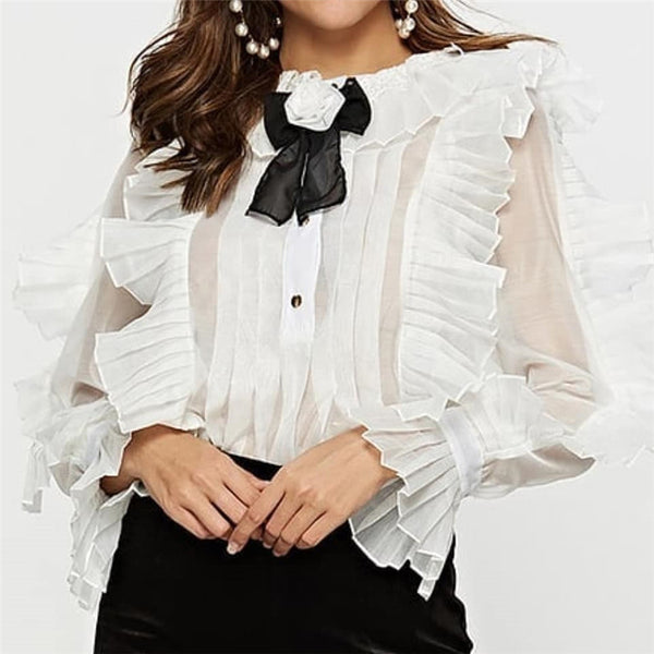 Fashion elegant pleated ruffled lace trumpet sleeve bow chiffon shirt