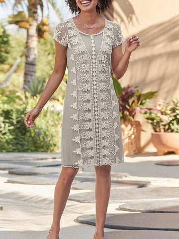 Casual  Guipure Lace Crew Neck Short Sleeve Midi Dress