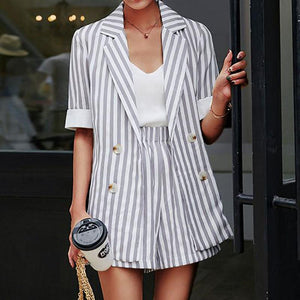 Casual Turndown Collar Stripe Suit