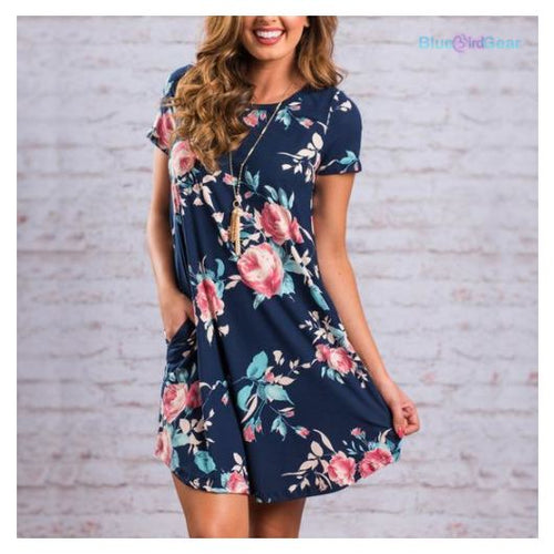 ❤ Casual Floral Dress with Pockets - BluebirdGear™