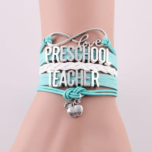 "<span style=""color:#990000;"">🌟</span>  Preschool Teacher Infinity Leather Bracelet - BluebirdGear™"
