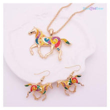 "<span style=""color:#990000;"">🐎</span> Horse Gold Necklace Earring Set - BluebirdGear™"