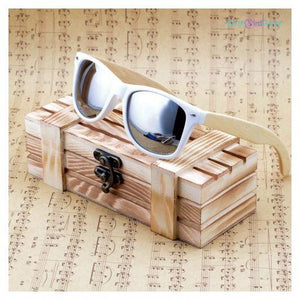 "<span style=""color:#990000;"">👓</span> Bamboo Wooden White Frame  Sunglasses - BluebirdGear™"