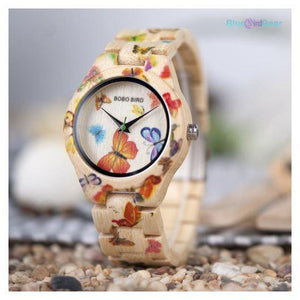 "<span style=""color:#990000;"">⌚</span> Butterfly  Designer Bamboo Watch - BluebirdGear™"