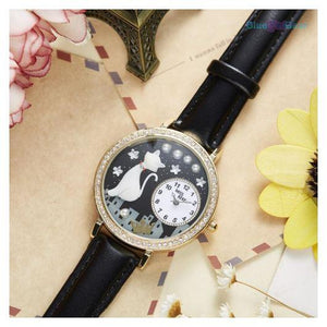 "<span style=""color:#990000;"">⌚</span> Cute Cat Rhinestone Leather Watch - BluebirdGear™"