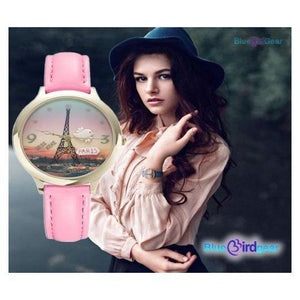 "<span style=""color:#990000;"">⌚</span> Eiffel Tower Woman Leather Watch - BluebirdGear™"