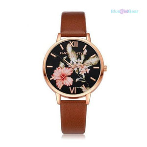 "<span style=""color:#990000;"">⌚</span>  Rose Gold Flowers Leather Watch - BluebirdGear™"