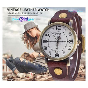 "<span style=""color:#990000;"">⌚</span> Vintage Woman Leather Watch - BluebirdGear™"