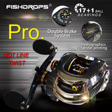 Fishdrops Carbon Fiber Fishing Reel 167g Two Brake Systems 18BB Carp Fishing Coils High Speed GT 7.2:1
