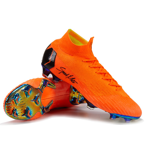 New Arrival Soccer Shoes Outdoor Football Boots Original FG Superfly Total Orange High Ankle Cleats Soccer Boots Wholesale 1 2